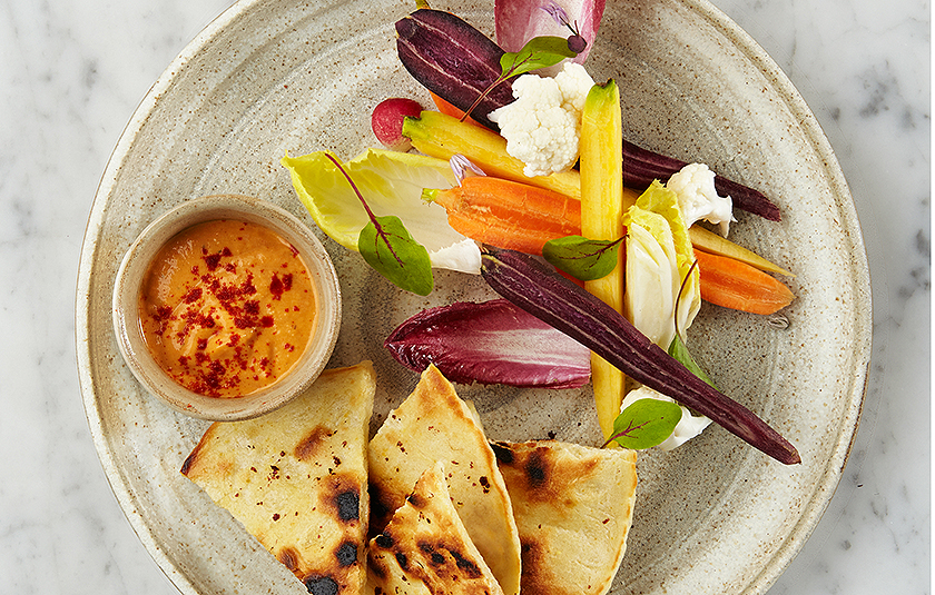SEASONAL CRUDITIES RED PEPPER AND PAPRIKA HUMMUS