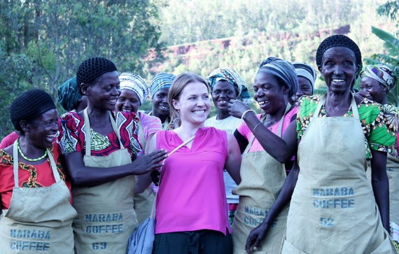 Kerttu Inkeroinen, Marketing Director, Union Coffee, with women from the Maraba Co-Operative, Rwanda